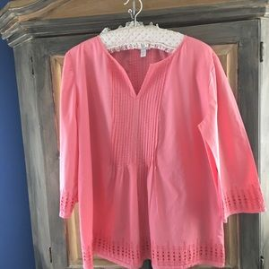 Coral Pink Tuck Front & Back Tunic Size XL